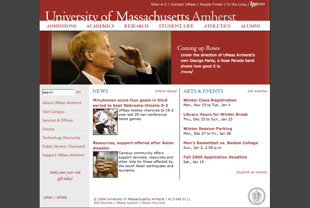 Screenshot of UMass Amherst website homepage, as of May 20, 2004.