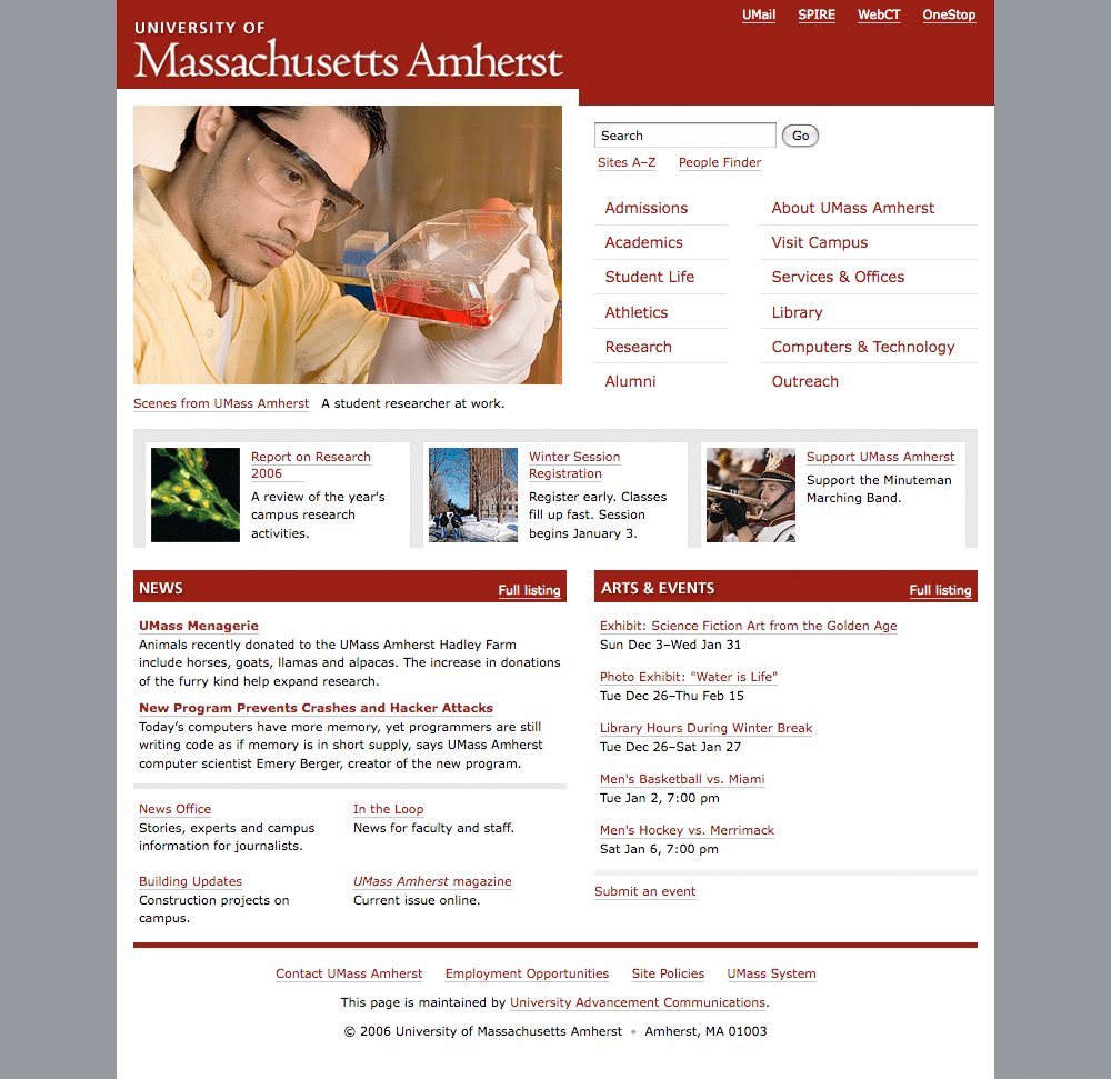 Screenshot of UMass Amherst website homepage, as of January 1, 2007.