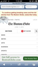 Boston Globe responsive website, iPhone view.