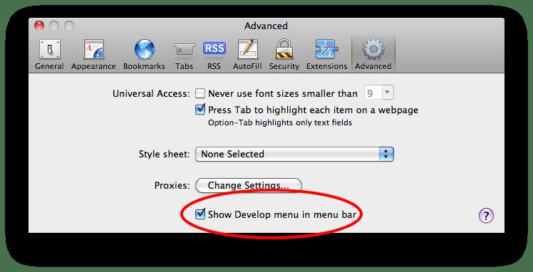 A screenshot of Safari's Preferences pane, enabling Safari's Develop menu.