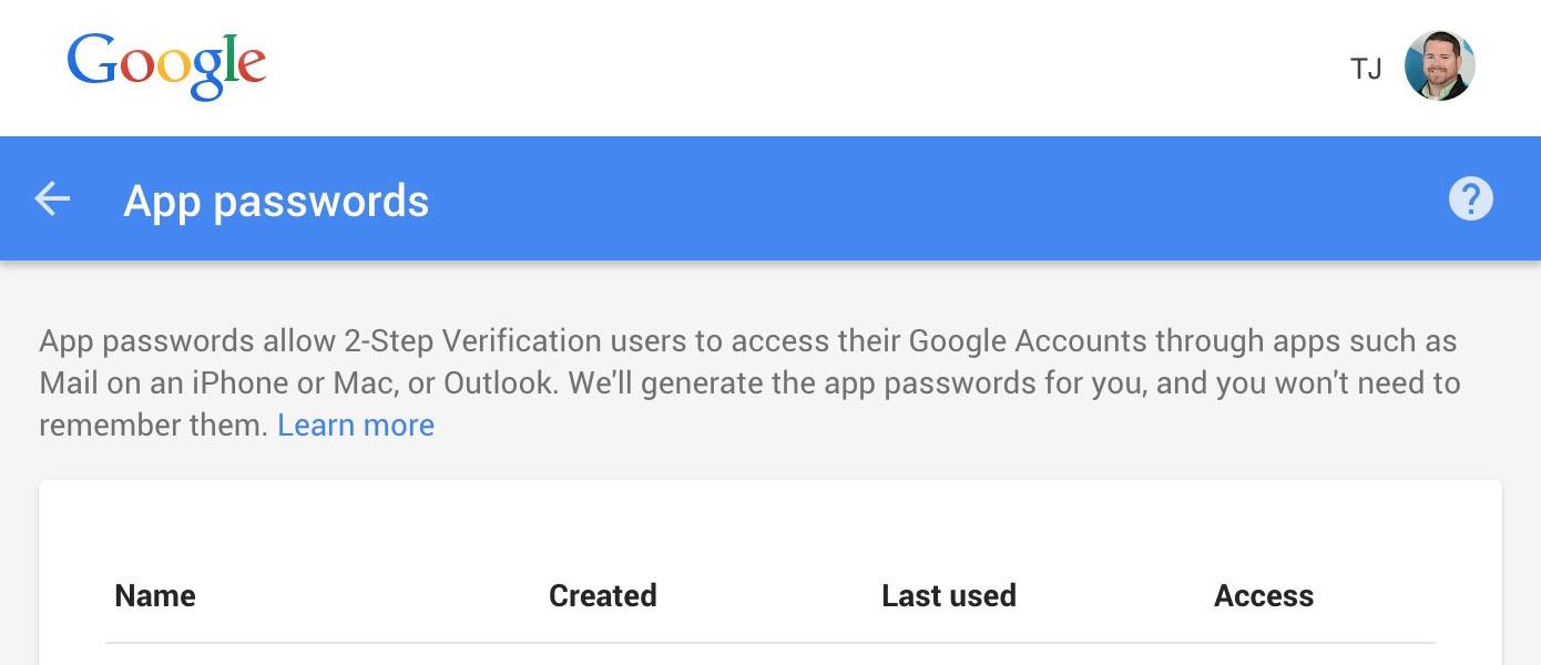 Gmail GoDaddy email forward (6): App Passwords.