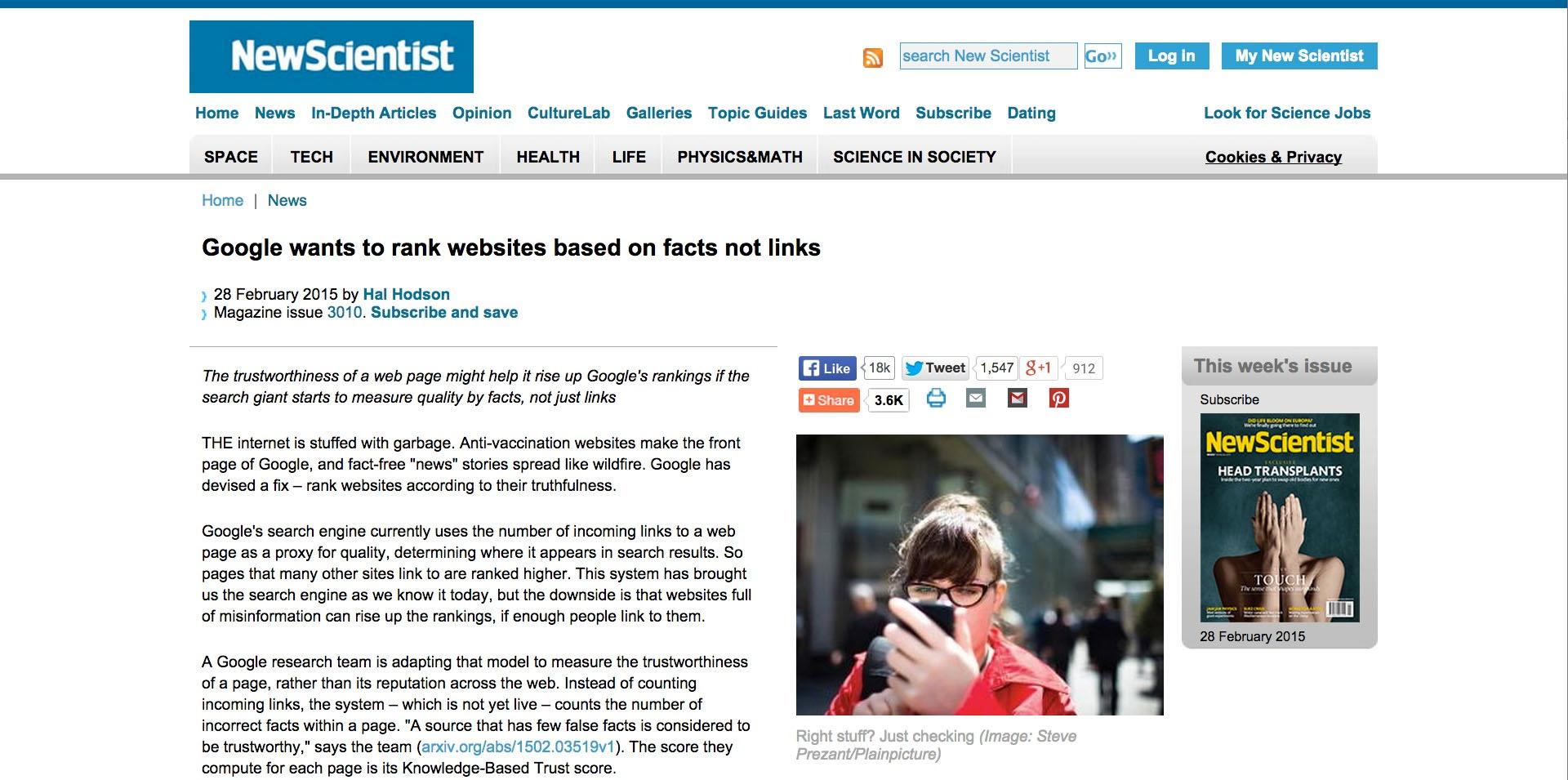 Google fact algorithm update - New Scientist Magazine.