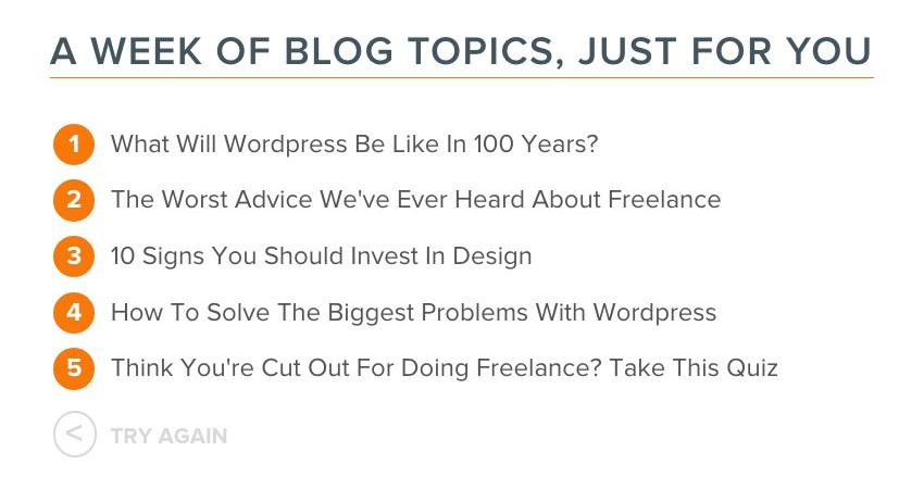 HubSpot's Blog Topic Generator.