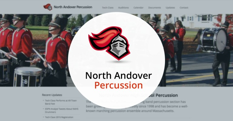 North Andover Web Design portfolio: NA Percussion, by TJ Kelly.