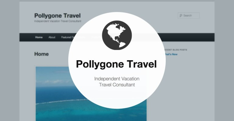 North Andover Web Design portfolio: Pollygone Travel, by TJ Kelly.