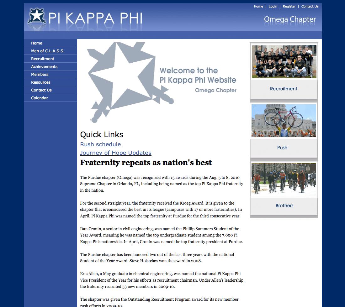A Pi Kappa Phi chapter website: Purdue University.
