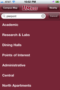 An image of UMass Amherst iPhone app, Building Finder search screen (3).