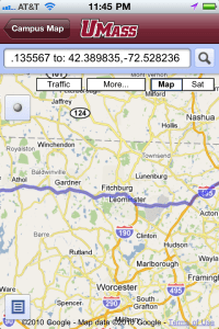 An image of UMass Amherst iPhone app, Google Map screen/directions.