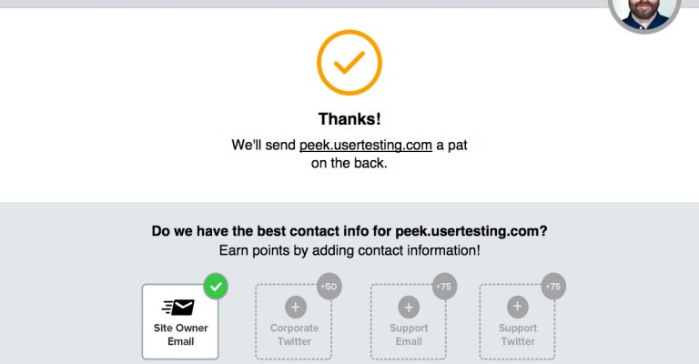 Shout User Testing form: Thanks & contact info.