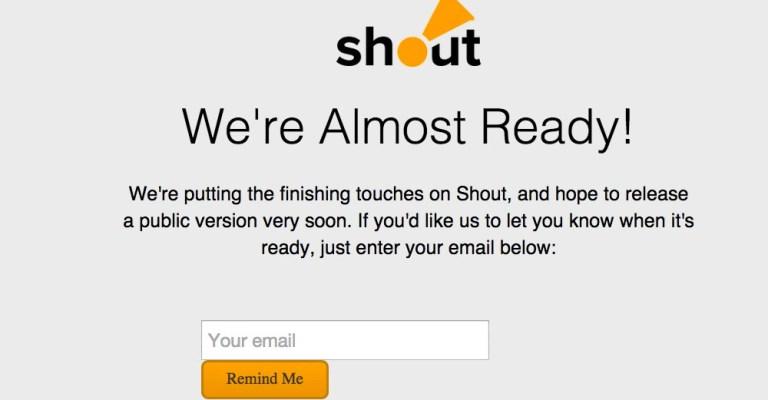 Shout User Testing sign up.