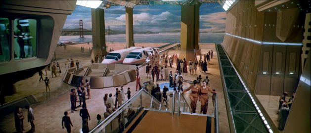 Interior of Starfleet Headquarters. Most of this is an unfortunately very-obvious matte painting.