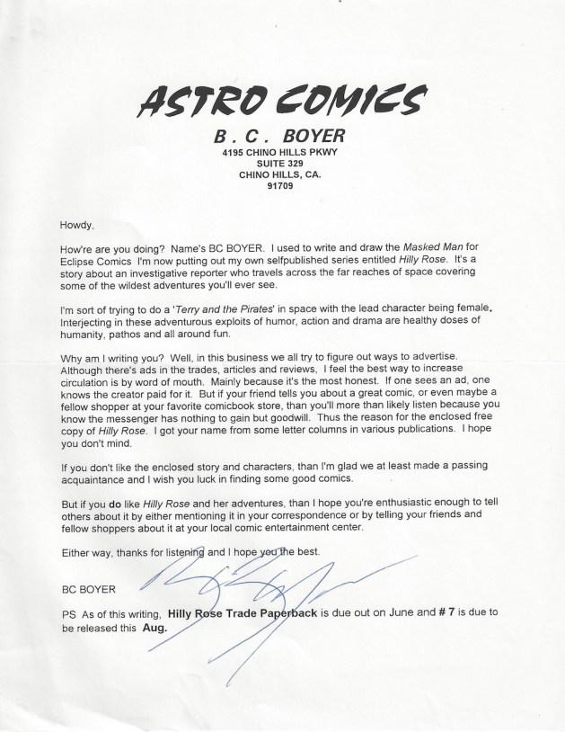 Letter from B.C. Boyer, circa 1996.