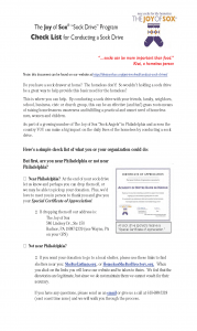 Instructions on how to conduct a sock drive for The Joy of Sox, a nonprofit that provides joy to the homeless with new socks. www.TheJoyOfSox.org