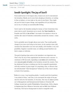 Seedlr article about Tom Costello Jr, Chief Sock Person & Founder of The Joy of Sox. The Joy of Sox is a nonprofit the provides joy to the homeless by giving them new socks.