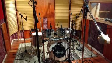 TJS Custom Drums in Recording Studio with Alice Cooper