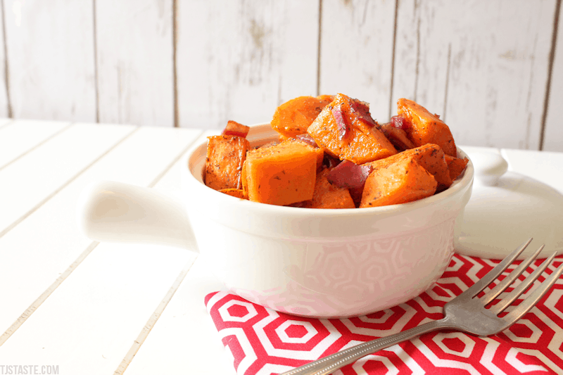 Maple Roasted Sweet Potatoes with Bacon