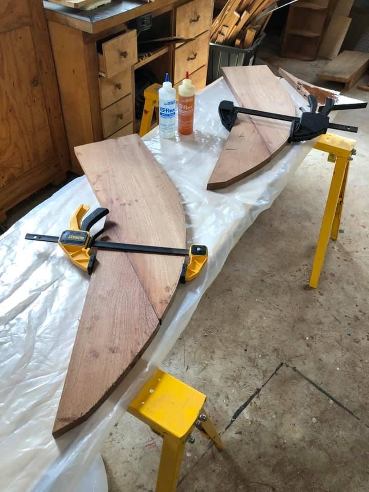 Angle cut sapele mahogany boards for swim platform support