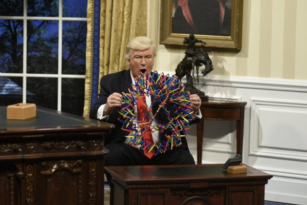 """SATURDAY NIGHT LIVE -- """"Kristen Stewart"""" Episode 1717 -- Pictured: Alec Baldwin as President Donald J. Trump during the Oval Office Cold Open on February 4th, 2017 -- (Photo by: Will Heath/NBC)"""