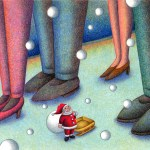"Illustrations of ""Christmas, Santa Claus, Foot, People, Snowfall"""