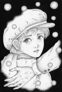 Pen drawing,Ink drawing,Pen sketch,Ink sketch,Pen and Ink,Monochrome,Sepia,Boy,Winter,Snowfall,Snow,Night,Cold night,Tear,Crying face,Sorro,Wfarewell