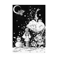 "Illustrations of ""Girl, Snowman, Rabbit, Owl, Crescent Moon"""