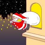 "Illustrations of ""Santa Claus, Christmas Eve, Night view, Star night"""