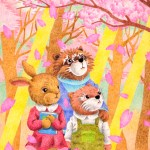 "Illustrations of ""Rabbit, Otter, Raccoon, Cherry Blossoms, Sunlight"""