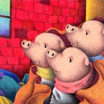 "Illustrations of ""Pig, Piglet, Three little pigs, Fairy tale"""