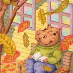 "Illustrations of ""Hippopotamus, Autumn leaves, Reading, Backyard, Bench"""