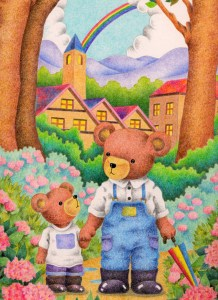 Animal,Creature,Mammalian,Cute animal,Fantasy,Fairy tale,Bear,Teddy bear,Parent and child,After the rain,Rainbow,House,Penthouse,Mountain,Tree,Woods,Forest,Hydrangea,Flower,Flower bed,The countryside,Mountain path,Country road,Walk