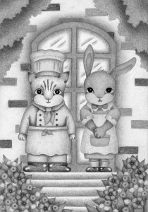 Animal,Creature,Mammalian,Cute animal,Fantasy,Fairy tale,Cat,Rabbit,Cook,Maid,Entrance,Restaurant,Stairs,Tree,Flower bed,Flower garden,Flower,Couple,Lover,Chef,Pastry