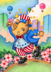 Animal,Creature,Mammalian,Cute animal,Fantasy,Fairy tale,Rhino,Rhinoceros,Anniversary,Festival,Independence day,Balloon,Flower,Flower Garden,Flower bed,City,Building,Cloud,Blue sky,Clear sky,Silk hat,Tuxedo,Stars and Stripes