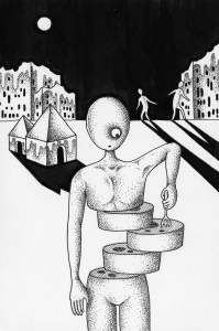 Pen drawing,Ink drawing,Pen sketch,Ink sketch,Pen and Ink,Monochrome,Sepia,Different world,Different space,Moonlit night,Late night,Midnight,Ruins,Plaza,Shadow,Moonlight,Night view,Zombie,Slice,House,Building,Surrealism,Immortality,Undead