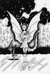Pen drawing,Ink drawing,Pen sketch,Ink sketch,Pen and Ink,Monochrome,Sepia,Fairy,Ice,Glacier,Starry sky,Angelfish,Fish,Genie,Night sky,On ice,Winter,Severe winter,Chill,Fantasy,Fairy tale