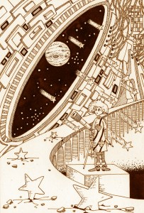 Pen drawing,Ink drawing,Pen sketch,Ink sketch,Pen and Ink,Monochrome,Sepia,Astronomical observatory,Astronomical observation,Space Station,Comet,Meteor,Shooting star,Heavenly bodies,Planet,Satellite,Space,Outer space,Observer,Astronomical telescope,Science fiction,SF
