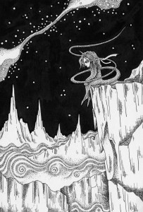 Pen drawing,Ink drawing,Pen sketch,Ink sketch,Pen and Ink,Monochrome,Sepia,Starry sky,Canyon,Mountain range,Cliff,Rocky field,Night sky,Milky way,Stars of the sky,Alpine,Monster,Apparition,Fairy,Alone,Loneliness,Meditation,Silence,Fantasy