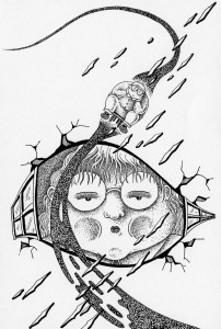 Pen drawing,Ink drawing,Pen sketch,Ink sketch,Pen and Ink,Monochrome,Sepia,Window,Obese child,Fat,Different dimension,Different space,Space movement,Face,Boy,Teleportation,Science fiction,Science fantasy,SF
