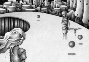 SF,Science fiction,Science fantasy,Imagination,Fantasy,Fantasy science,Pencil drawing,Colored pencil drawing,Analog illustration,Illustration,Art,Painting,Hand-drawn illustrations,Highway,Road,Apparition,Person,Female,City,Future city,Variant,Shark,Girl,Alien,Future world,Alien world,Different world,First contact