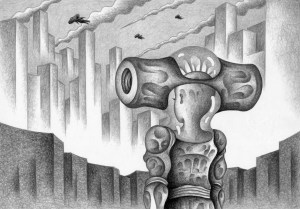 SF,Science fiction,Science fantasy,Imagination,Fantasy,Fantasy science,Pencil drawing,Colored pencil drawing,Analog illustration,Illustration,Art,Painting,Hand drawn illustrations,Alien,Space Alien,Robot,Cyborg,Flying Suit,Flight Suit,Futurist,Skyscraper,Building,Future city,Big city,Powered suit