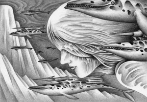 SF,Science fiction,Science fantasy,Imagination,Fantasy,Fantasy science,Pencil drawing,Colored pencil drawing,Analog illustration,Illustration,Art,Painting,Hand drawn illustrations,Goddess,Queen,Giant,Whale,Killer whale,Torpedo,Missile,Warrior,Ocean floor,Sea god,Ocean,Attack