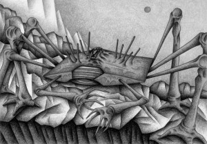 SF,Science fiction,Science fantasy,Imagination,Fantasy,Fantasy science,Pencil drawing,Colored pencil drawing,Analog illustration,Illustration,Art,Painting,Hand drawn illustrations,Crab,Crustacean,Monster,Cosmic creature,Rocky field,Cliff,Strange place,Remote area,Unidentified creatures,Alien