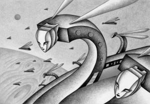 SF,Science fiction,Science fantasy,Imagination,Fantasy,Fantasy science,Pencil drawing,Colored pencil drawing,Analog illustration,Illustration,Art,Painting,Hand drawn illustrations,Bee,Cosmic creature,Invasion,Earth invasion,Invader,Planet,Satellite,Space,Monster,Alien