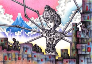 SF,Science fiction,Science fantasy,Imagination,Fantasy,Fantasy science,Pencil drawing,Colored pencil drawing,Analog illustration,Illustration,Art,Painting,Hand drawn illustrations,Asura,Buddha,Buddha statue,Fuji Mountain,End of the world,End of the century,Advent,Destruction,City,Future city,Cloud,Sea of clouds,Robot