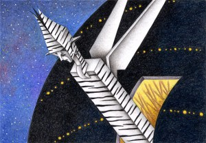 SF,Science fiction,Science fantasy,Imagination,Fantasy,Fantasy science,Pencil drawing,Colored pencil drawing,Analog illustration,Illustration,Art,Painting,Hand drawn illustrations,Alien,Zebra,Aircraft,Spaceship,Space,Outer space,Cyborg,Robot,Mother ship,Launch pad,Firing,Attack machine,Invader