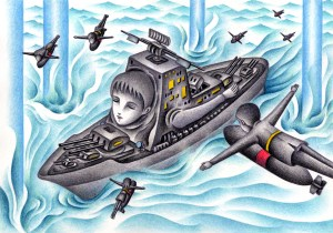 SF,Science fiction,Science fantasy,Imagination,Fantasy,Fantasy science,Pencil drawing,Colored pencil drawing,Analog illustration,Illustration,Art,Painting,Hand drawn illustrations,Naval battle,Battleship,Destroyer,War,Combat,Airplane,Bombardment shooting,Water hammer,Wave splash,Sea,Ocean,Fighter aircraft,Game,War game,Explosion,Bombing,Attack