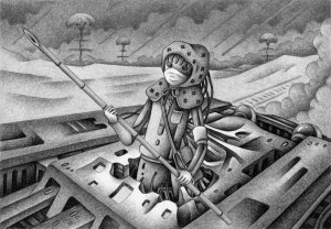 SF,Science fiction,Science fantasy,Imagination,Fantasy,Fantasy science,Pencil drawing,Colored pencil drawing,Analog illustration,Illustration,Art,Painting,Hand drawn illustrations,Military personnel,Soldier,Combatant,Warrior,Battlefield,War,Tank,Armored car,Atomic bomb,Mushroom clouds,Hydrogen bomb,Nuclear war,Bamboo spear,Robot,Cyborg,Robot Soldier