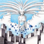 "Illustrations of ""Goddess, AI, Molecular structure, Big city, Building"""