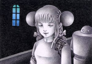 SF,Science fiction,Science fantasy,Imagination,Fantasy,Fantasy science,Pencil drawing,Colored pencil drawing,Analog illustration,Illustration,Art,Painting,Hand drawn illustrations,Android,Cyborg,Robot,Artificial intelligence,Humanoid,Repair plant,Female,Girl,Scrap,Scrap factory,Indoor,Darkness