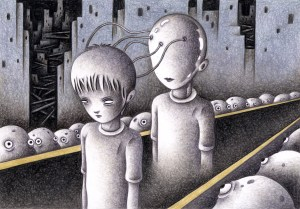 SF,Science fiction,Science fantasy,Imagination,Fantasy,Fantasy science,Pencil drawing,Colored pencil drawing,Analog illustration,Illustration,Art,Painting,Hand drawn illustrations,Control,Mind control,Boy,Robot,Surveillance society,Cyborg,Android,Different world,Alien,Apparition,Observer,Spirit behind