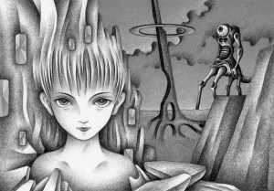 SF,Science fiction,Science fantasy,Imagination,Fantasy,Fantasy science,Pencil drawing,Colored pencil drawing,Analog illustration,Illustration,Art,Painting,Hand drawn illustrations,Different dimension,Different world,Gatekeeper,Statue,Stone statue,Hell,World after death,Monster,Ruler,Resident